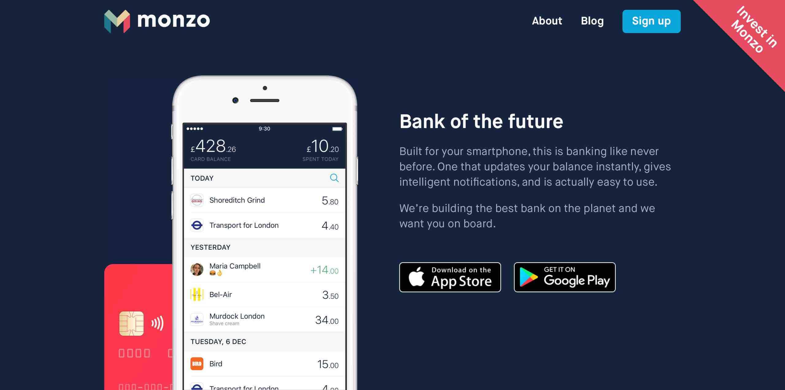 Monzo fintech startup prepaid kártya