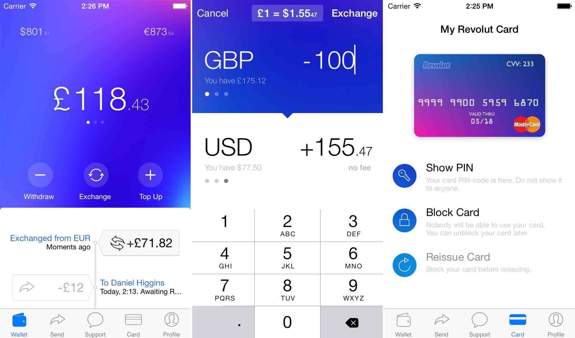 Revolut prepaid mobil app
