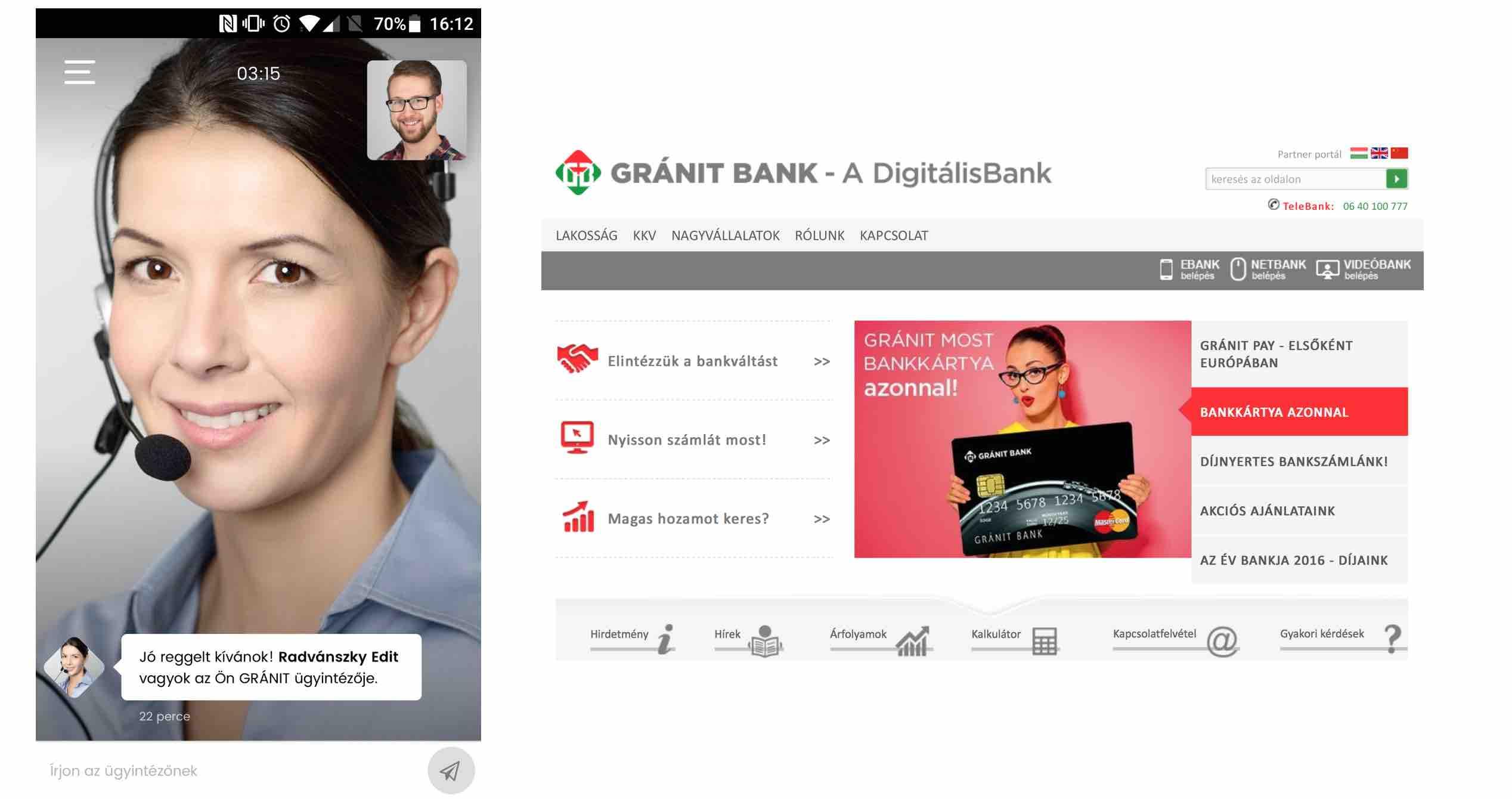 GRÁNIT Bank videoazonosítás bankszámlanyitás