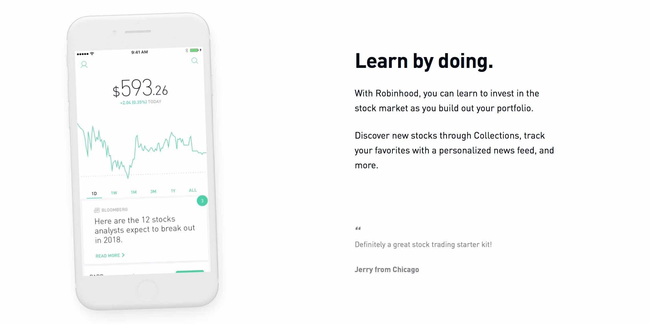 fintech startup Robinhood befektetesek