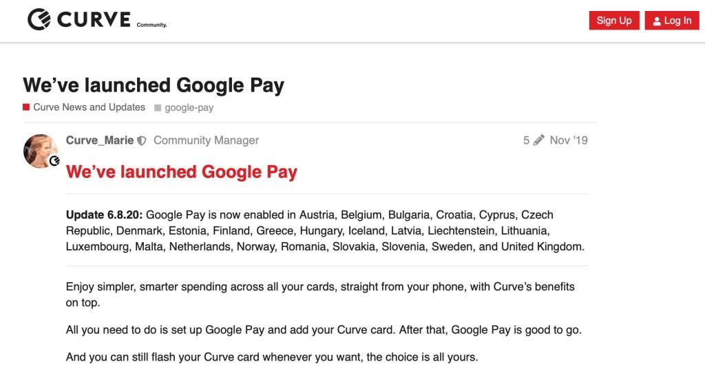 curve google pay