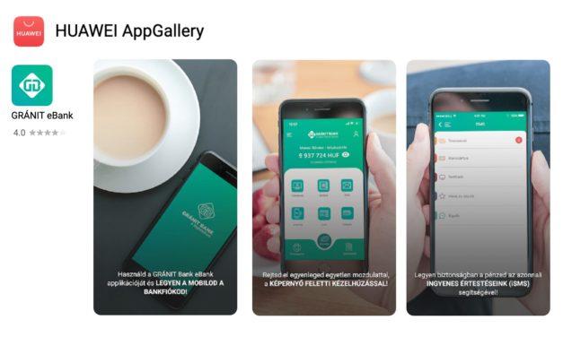 A GRÁNIT eBank alkalmazása is elérhető a HUAWEI AppGallery-ben
